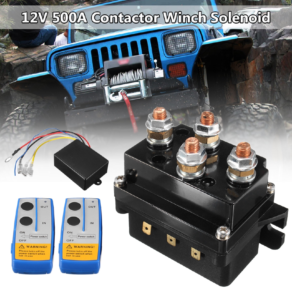 12V 500A HD Contactor Winch Control Solenoid Relay Twin Wireless Remote  Recovery