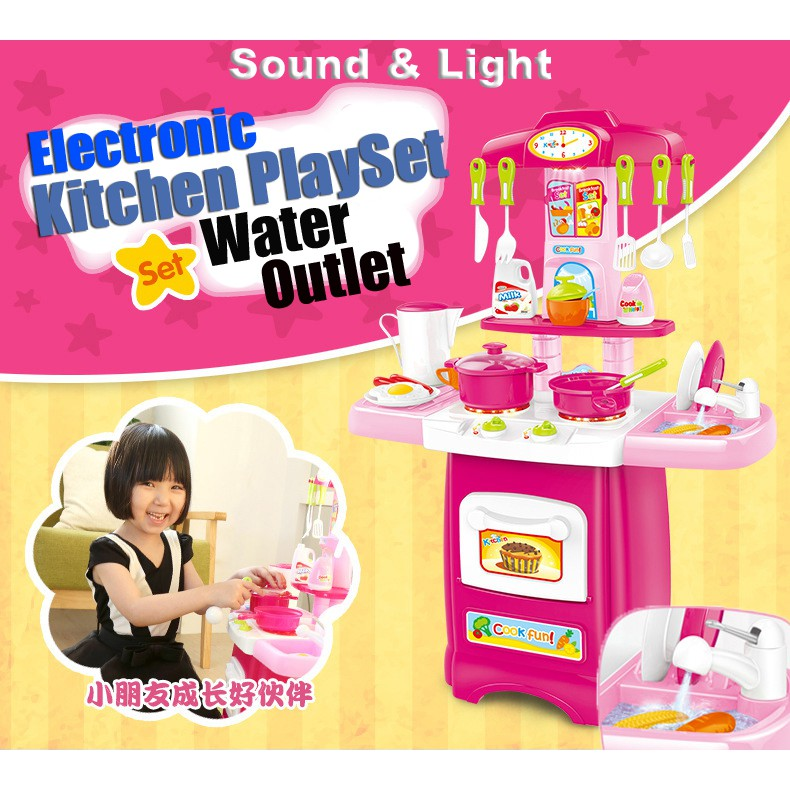 Kitchen Playset For Girls Pretend Play Toy Cooking Set Light /& Water Sound Kid*