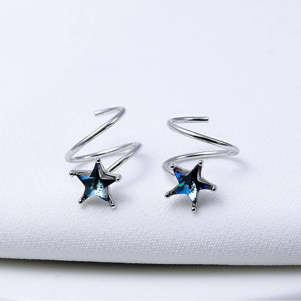 89f3dbc51fad1 925 silver pin retro five-pointed star stud earrings