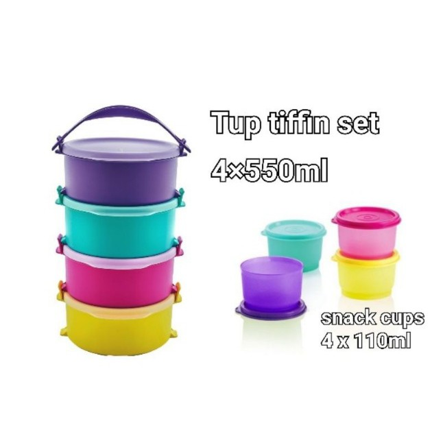 Tupperware Round Click To Go 880ml OR Tup Tiffin Set 4 x 550ml OR Snack Cup Set 4 x 110ml