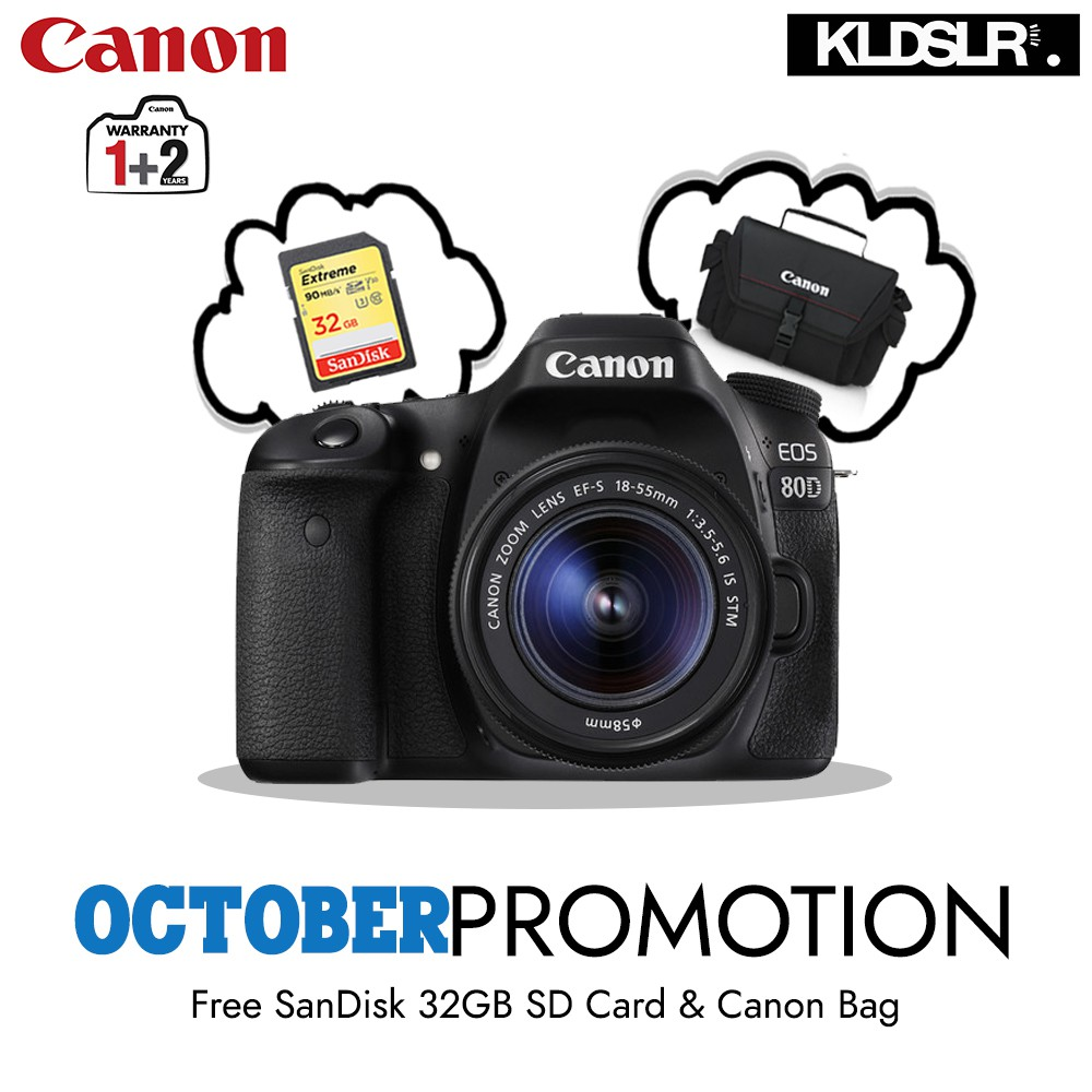 Canon Eos 80d Dslr Camera With 18 55mm Is Stm Lens Free 32gb Card Wi Fi 200mm Bag Shopee Malaysia