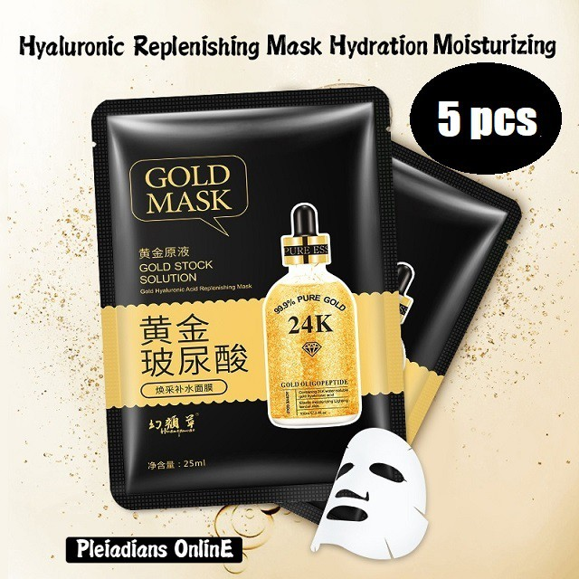 [ READY STOCK ]  Gold Facial Acid Makeup Face Skin Mask Hydration Moisturizing Brightening Skin Care Jualan Murah Girl