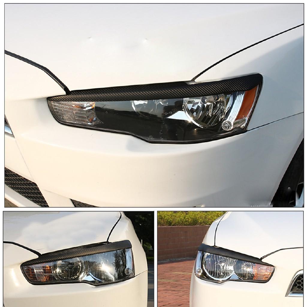 Headlight Eyelids Eyebrows Trim Carbon Fiber For Mitsubishi Lancer EVO X 08-14