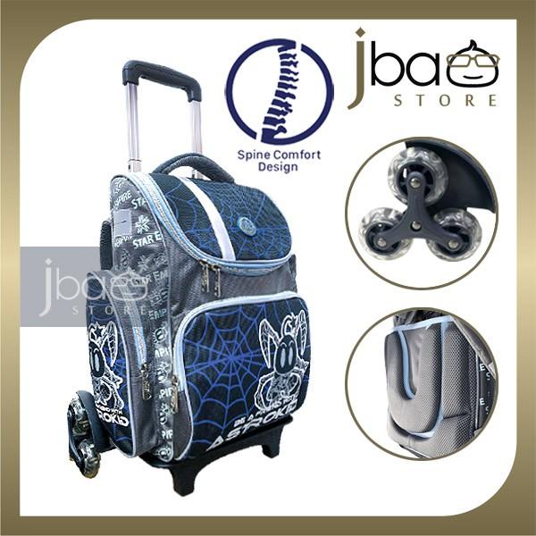 2020 Astrokid 6 Wheels Kid Trolley School Bag Astrokids 3D Foam Cushion Backpack Spine Comfort design R-801971-NV