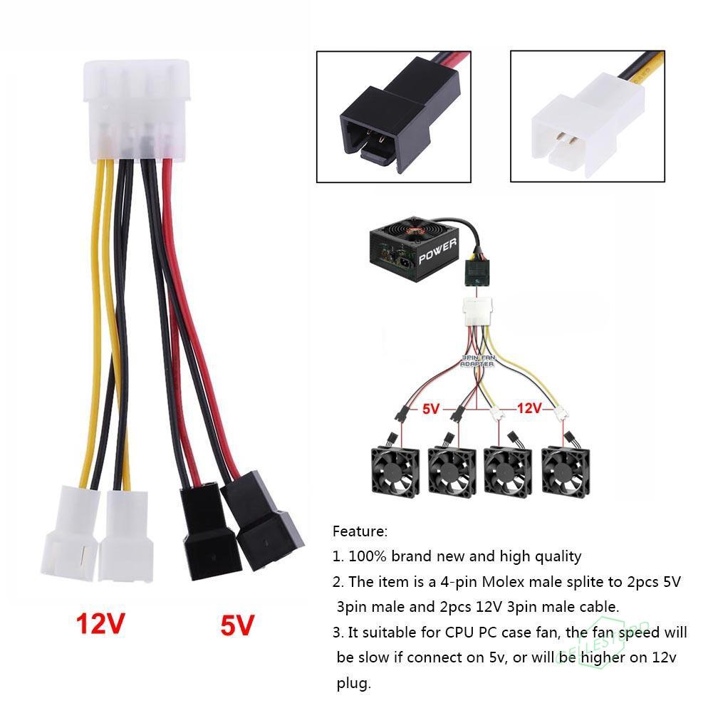 USB 2.0 A Male To 3-Pin//4-Pin Connector Adapter Cable For 5V Computer PC Fan TOU