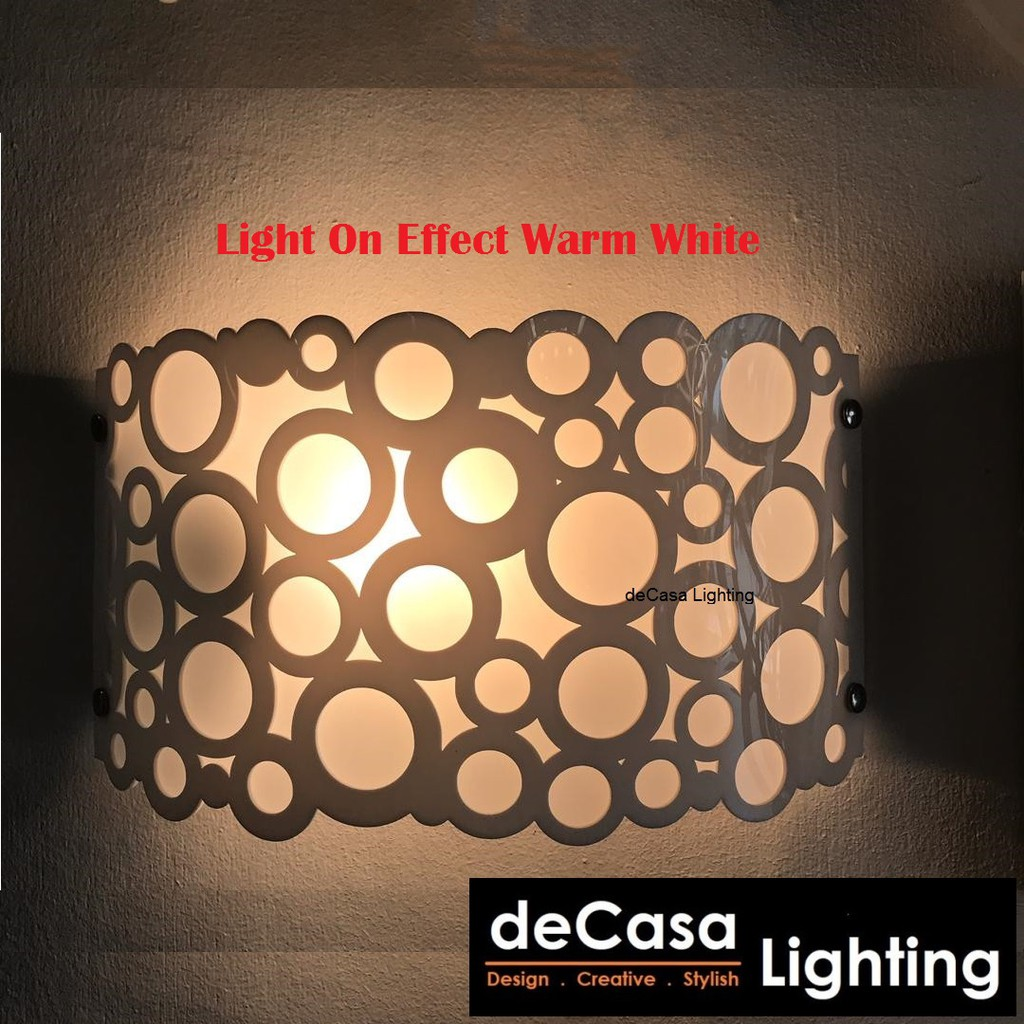 Decasa Lighting Modern Wall Light White Effect Wall Lamp E27 Holder Lampu Hiasan Dinding (ET5247-W)