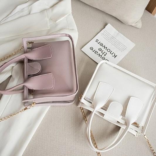 Sling Bag Women Beg Transparent Casual Handbag 少女母子包 B00148