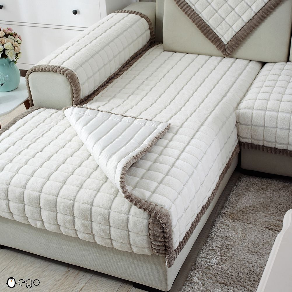 Outstanding White Plaid Plush Long Fur Sofa Sectional Furniture Protector Couch Covers Caraccident5 Cool Chair Designs And Ideas Caraccident5Info