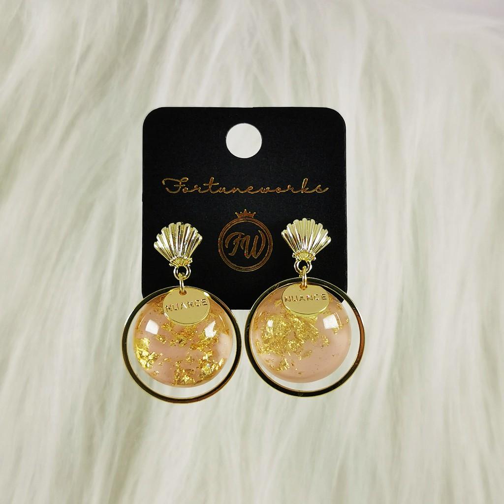 FORTUNEWORKS Ocean Series Handpainted Hypoallergenic Fashion Stud Earrings Whale Mermaid Seashell Elegant Gold Blue Pink