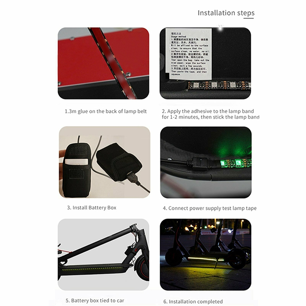 Led Electric Scooter Light Strip Color Changing Adhesive Night Riding Decorative Waterproof For Xiaomi M365 Pro