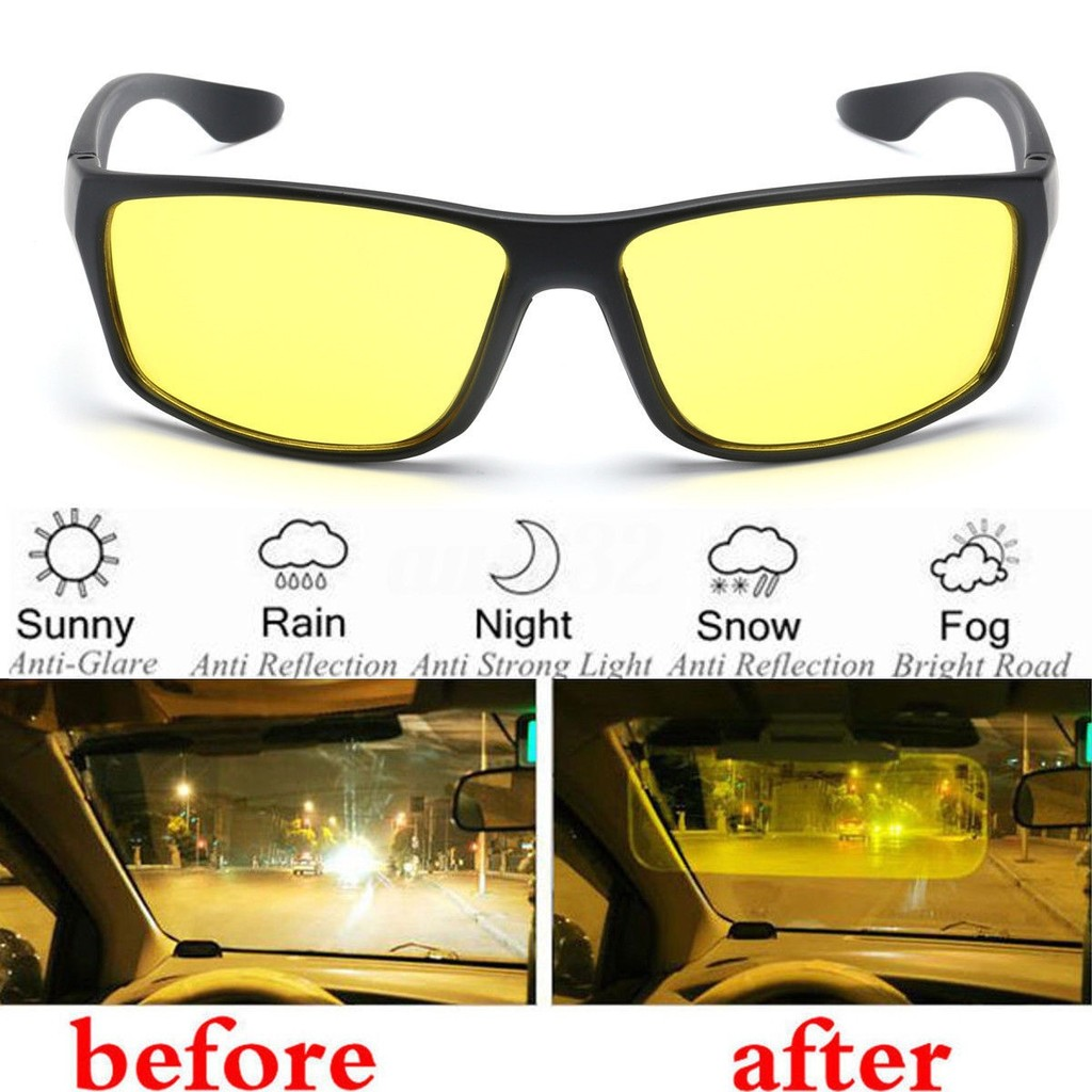 9948ba5daf4 Original HD Vision Driving Sunglasses Day   Night Glasses Clips or NV  Polarized