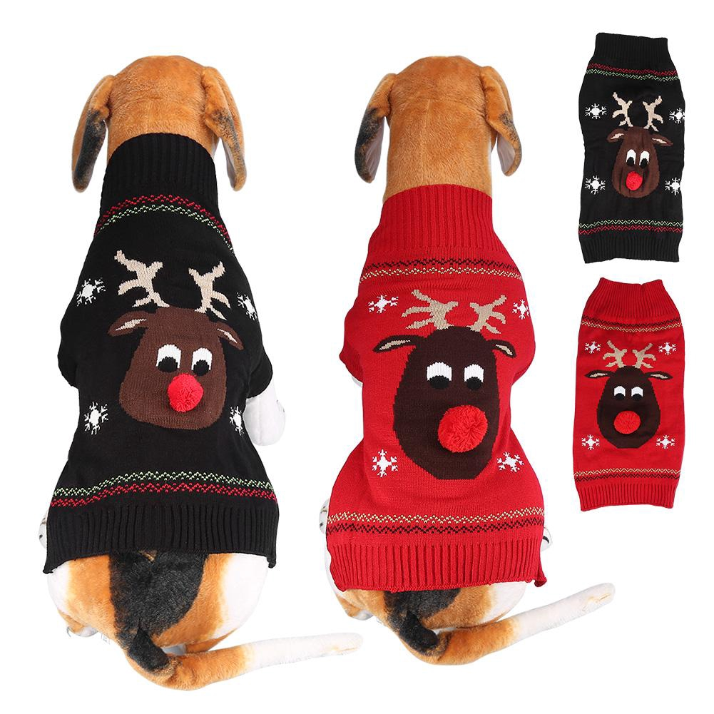 Christmas Sweaters For Dogs.Dog Knitwear Christmas Pet Dog Red Nose Deer Sweater