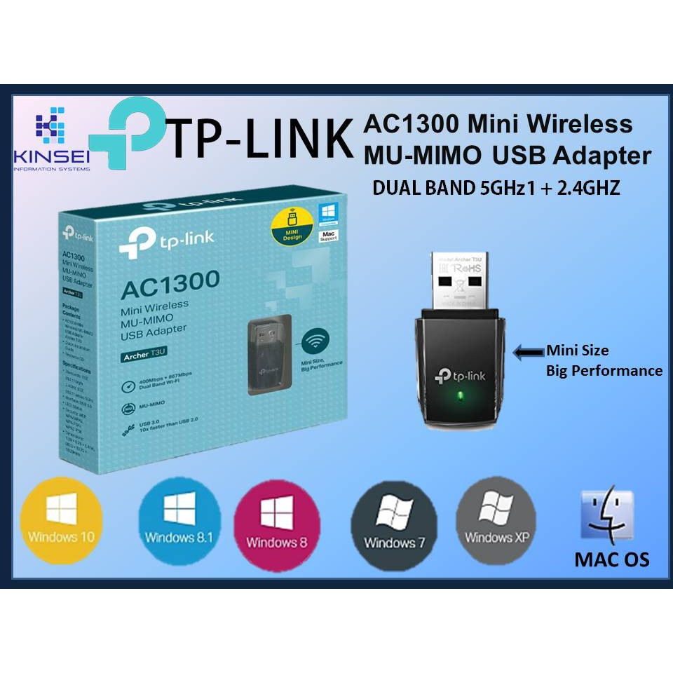 TP-LINK AC1300 Mini Wireless MU-MIMO USB WiFi Adapter Archer T3U Dual Band  5GHz