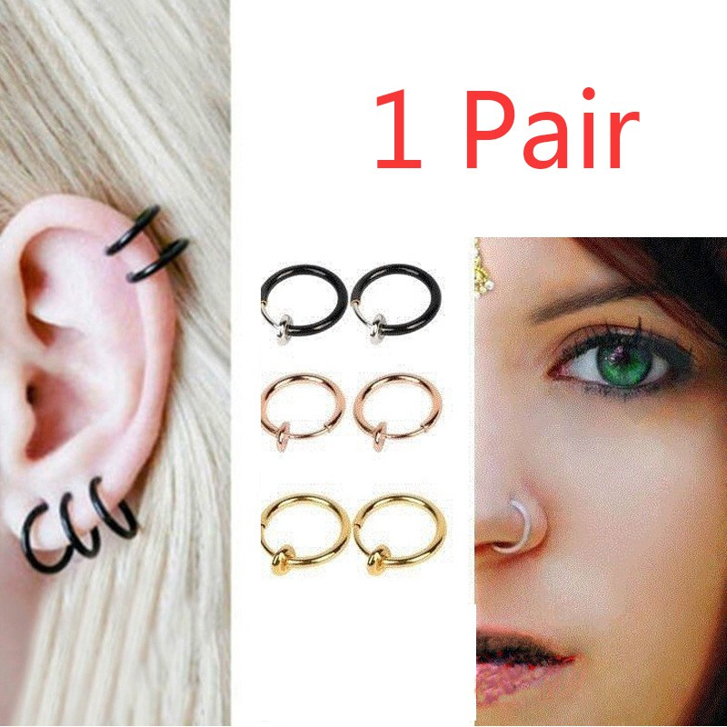 Hot Sale Multiuse New 1 Pair Clip On Fake Nose Ring Ear Lip