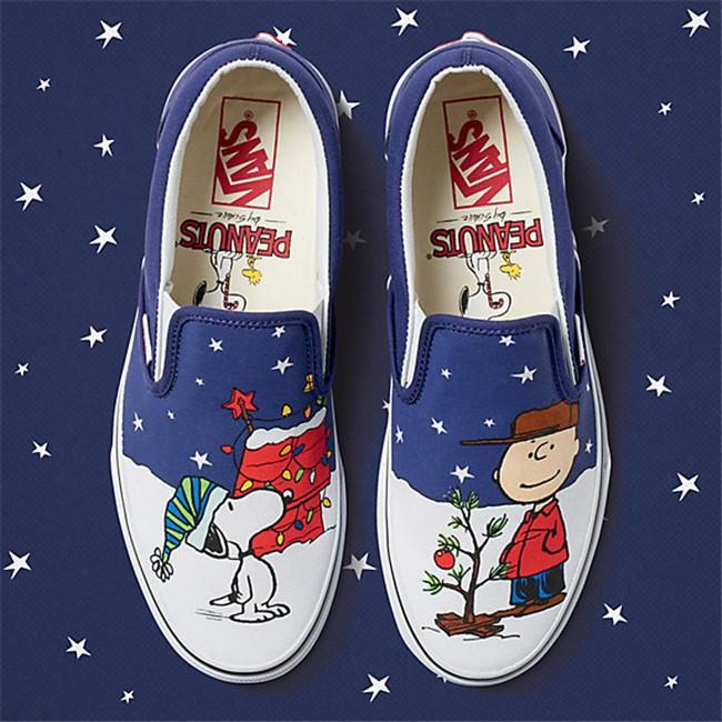 Christmas Sneakers.Vans Women Peanuts Christmas Edition Slip On Charlie Tree Sneakers Shoes