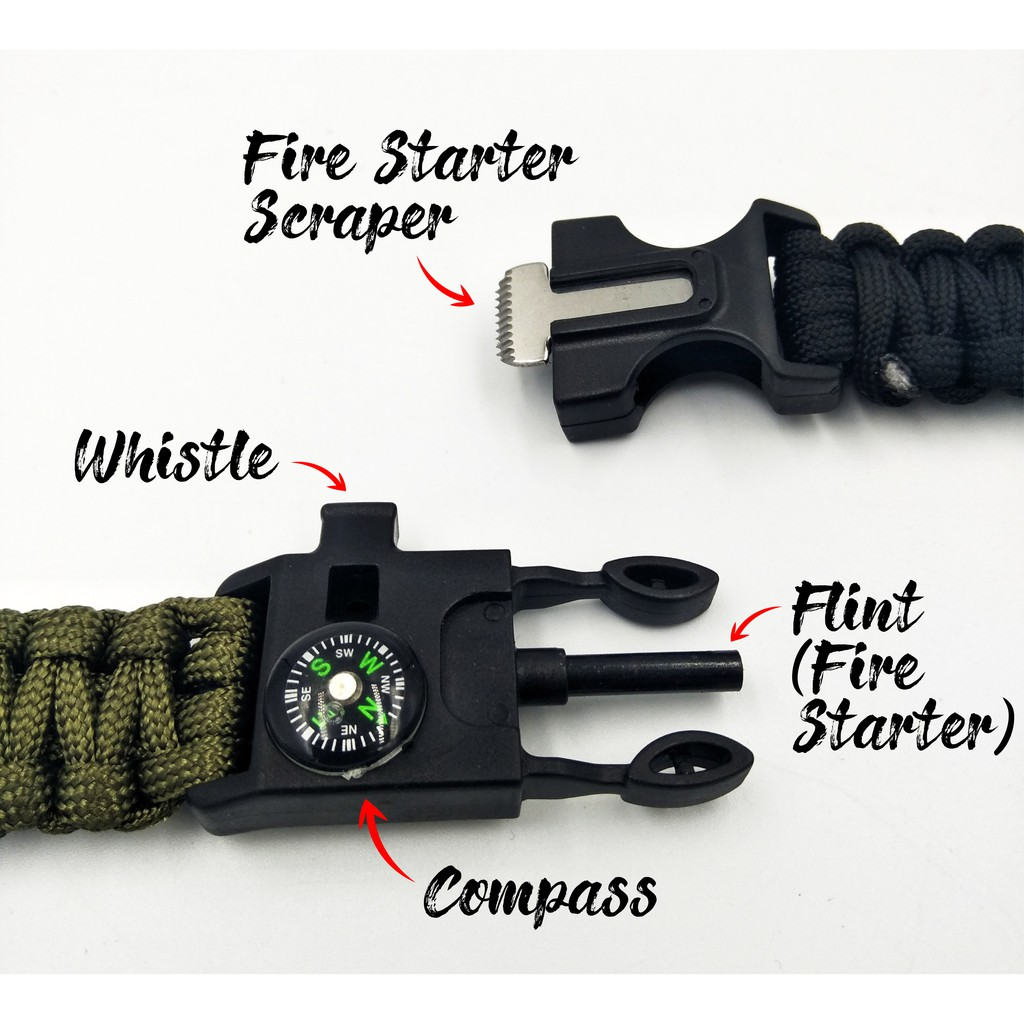 New Side Buckle  Whistle Compass Flint Fire Starter Scaper for Paracord Bracelet