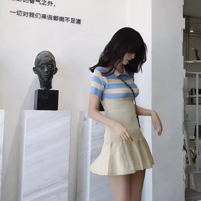 [Free Size]Korean POLO fairy knit dress 撞色荷叶边时尚显瘦修身收腰小仙女针织连衣裙女新款韩版