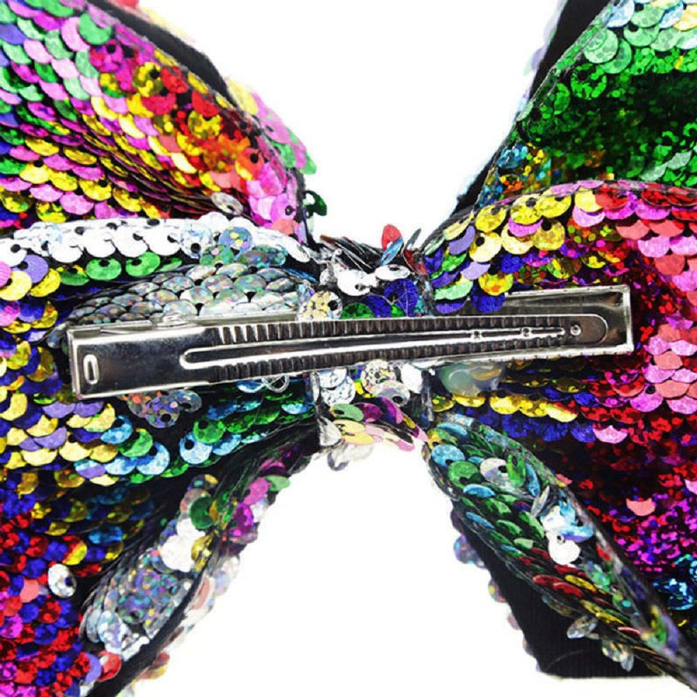 Baby Girls Sequins Large Bowknot Rainbow Bow Hairpin Hair Pin Eyeful