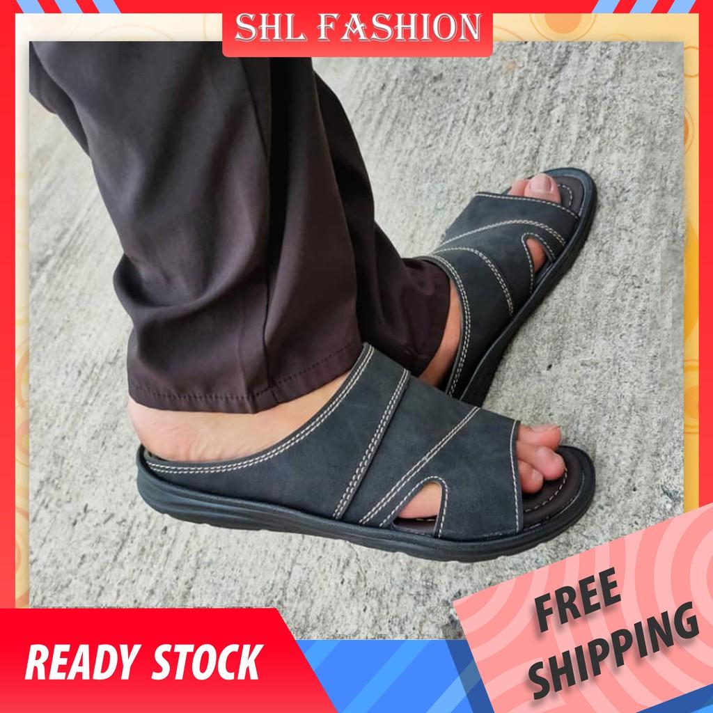 SHL Men PU Leather Sandal Advanced Selipar Kasut Lelaki size 40-44【男士拖鞋】- 3618