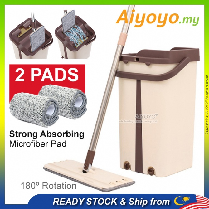 Slim Scratch Mop Bucket Set Magic Mop Lantai Flat Mop Disposable Mop Spin Mop Microfiber Cloths Penyapu Mop Pad Easy Was