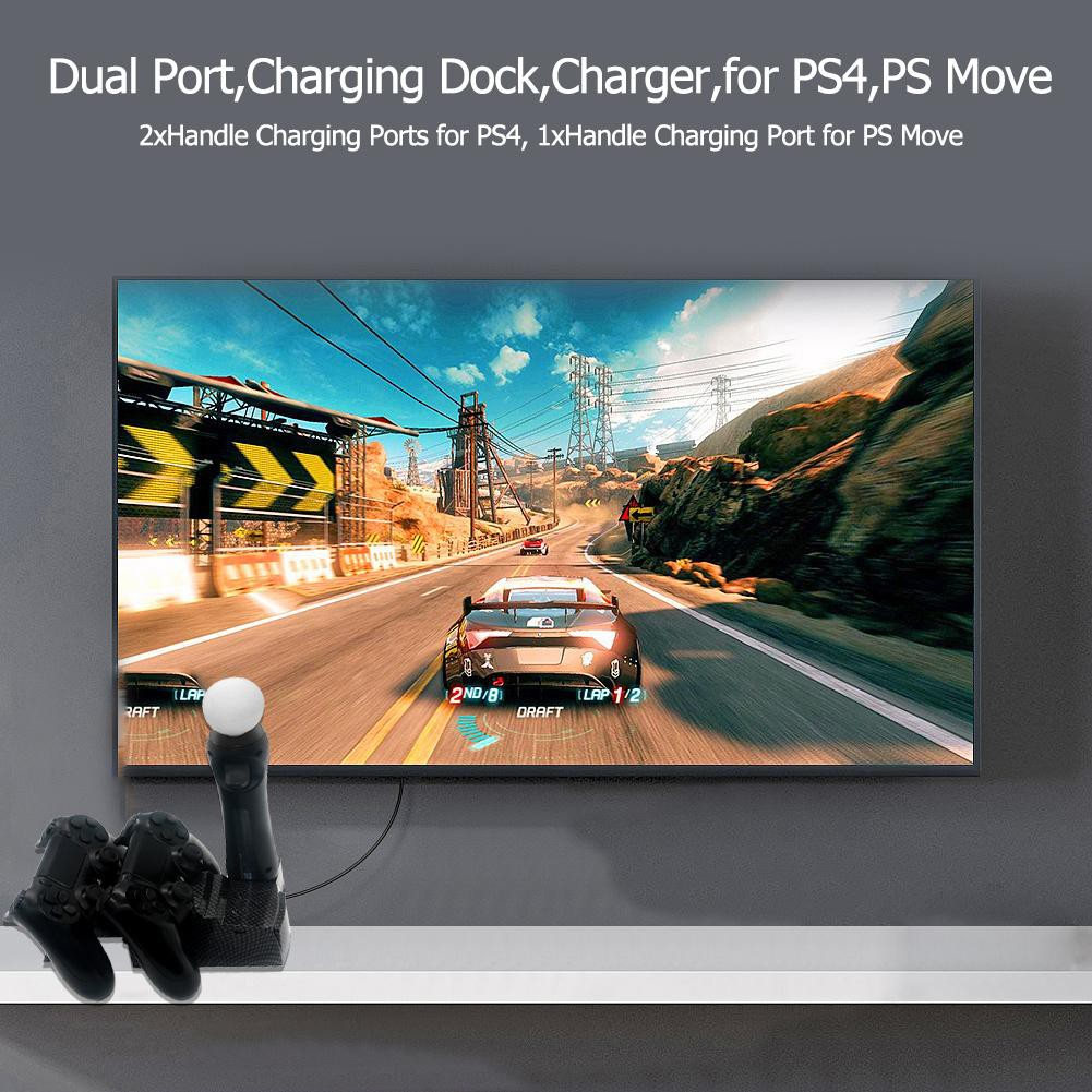 ❤hom❤ USB Dual Charger Station Holder for PS4 Slim PS4 PRO PS Move  Controller