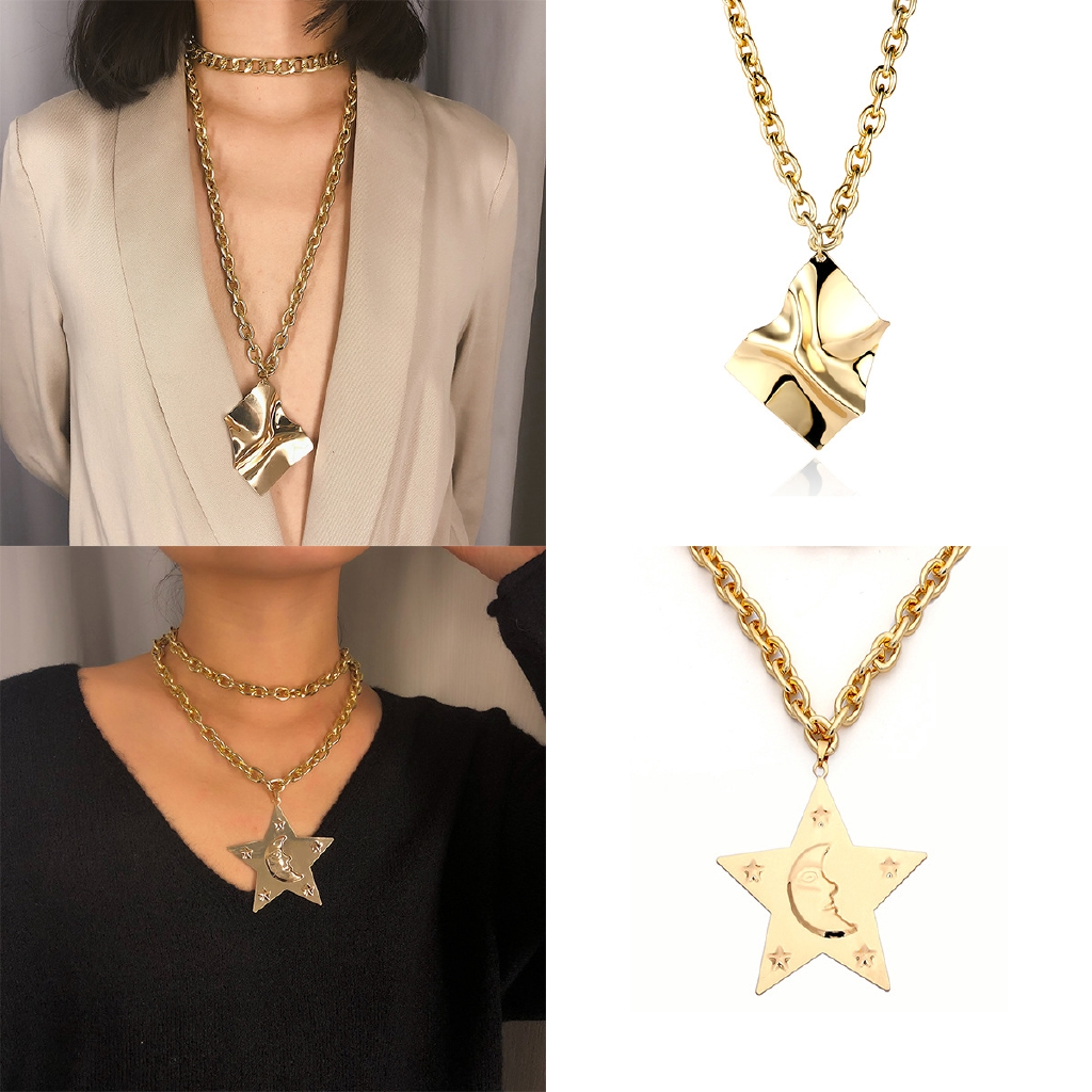 6c5e0612dc99c Metal exaggerated geometric emboss pendant female punk star chain necklace