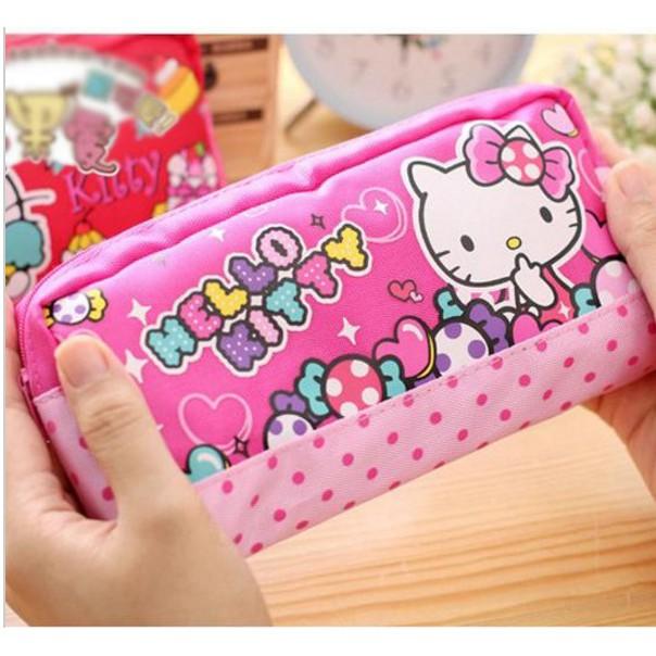 03dcc6d69 Cartoon Kawaii Hello Kitty Canvas Cosmetic Bag Girls Makeup Bag Kids Pencil  case