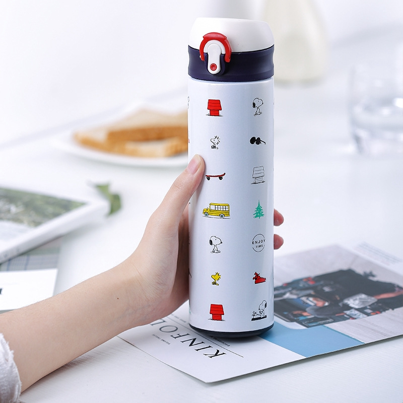 Water Bottle Kids Drinking Bottle Drinking Cup Snoopy Brand Authentic Kids Hand Cup Bouncing Stainless Steel With 500ml