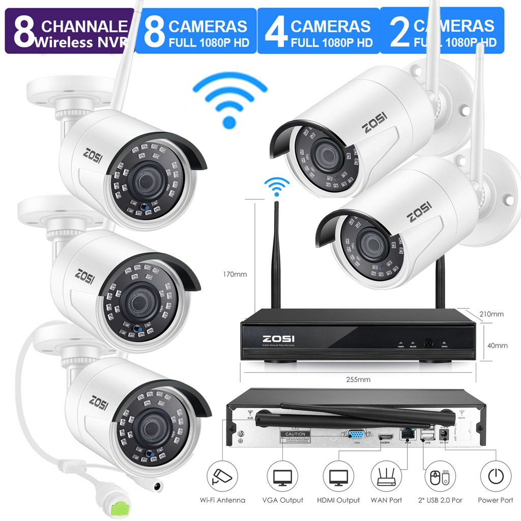 H.265 CCTV DVR w//1TB Seagate Surveillance HDD and 4x 2MP 1080p Outdoor Indoor Home Security Camera with PIR Motion Sensor ZOSI 1080p 8 Channel Security Camera System with Hard Drive
