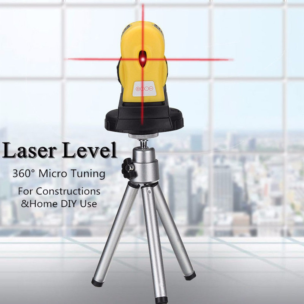 4in1 360 Degree Micro Tuning Red Cross Infrared Rotary Laser Level Measure  Tool