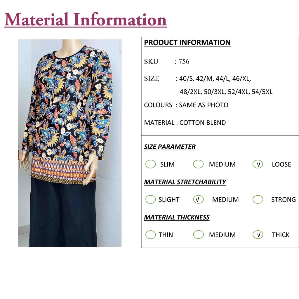 FST Muslimah S-5XL Plus Size Flora Batik Long Sleeve Fashion Blouse Baju Raya 2020 [756_1]