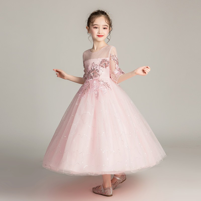 Kids Tulle Princess Ball Party Maxi Wedding Dress Lace Embroidery For 5-12Y