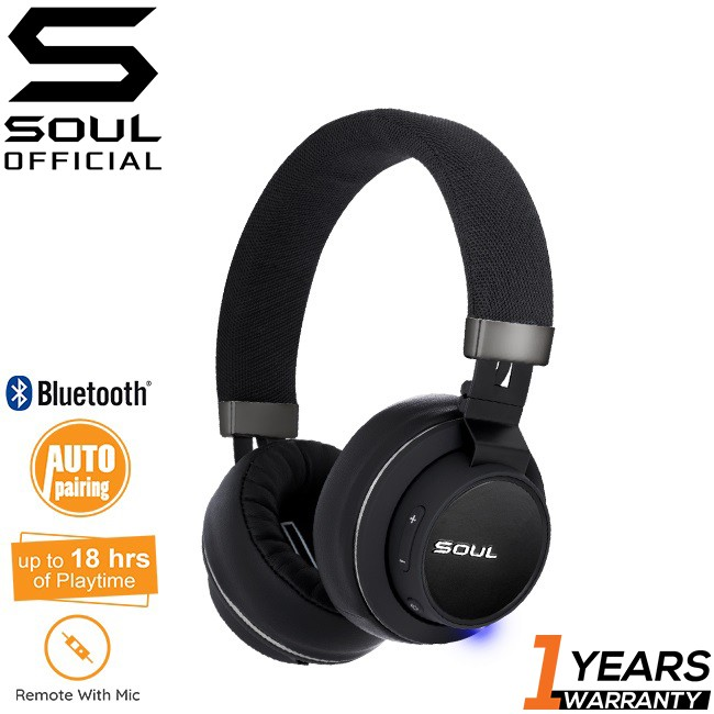 Soul Impact Oe Wireless High Efficiency Over-Ear Headphones With Bluetooth