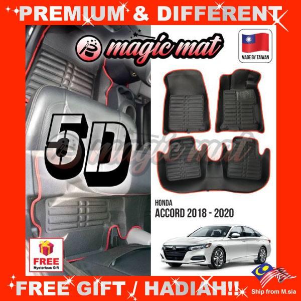 [FREE Gift] HONDA ACCORD 2018 - 2020 (5 Seater) MAGIC MAT 5D OEM PU Leather Floor Mat Anti-Slip Easy Clean Carpet