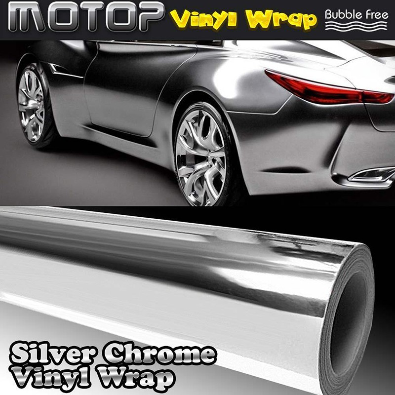 "20/"" x 60/"" Car Mirror Chrome Silver Sheet Tape Wrap Vinyl Sticker Film No Bubble"