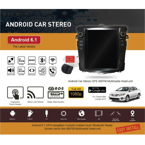 """Free Camera TOYOTA ALTIS 2008-2013 10 4"""" Android Vertical Player with  Aircond"""