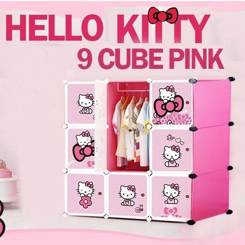 MALAYSIA: HELLO KITTY 9 cube DIY Multipurpose Wardrobe Cabinet Clothes Storage Organizer Almari Rak