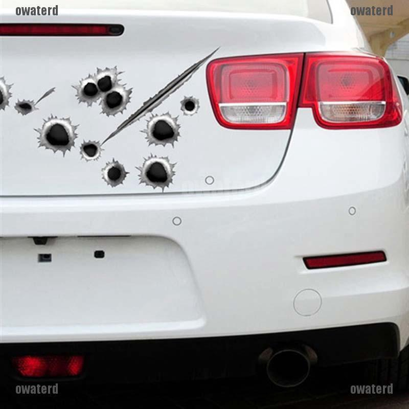 2Pcs High Simulation 24 Bullet Hole Stickers Removabl Car Decals Stickers