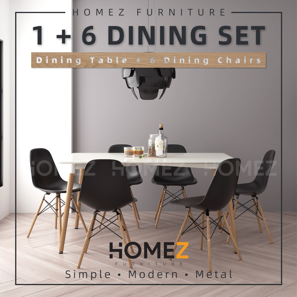 Homez Modern Dining Table Set 1 Table + 6 Dining Chairs HMZ-FN-DT-JT01(14080)-WT