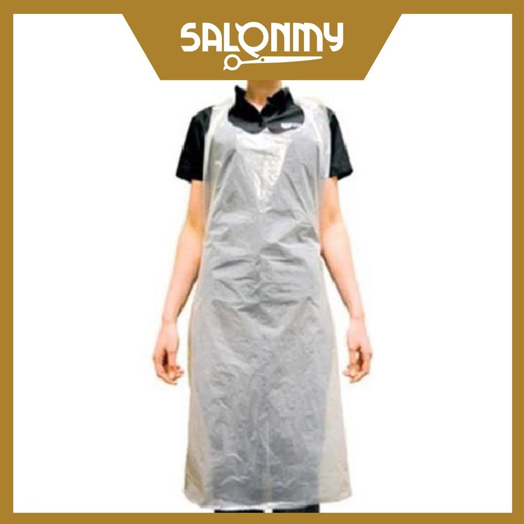 Transparent disposable plastic apron - White