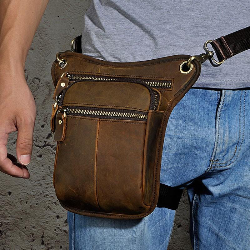 Genuine Oil Wax Cow Leather Cowhide Waist Bag Drop Leg Bag Fanny Pack For Men