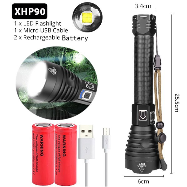 200000lm LED Flashlight 3*XHP90 Torch Light Rechargeable 18650 Lamp Ultra Bright
