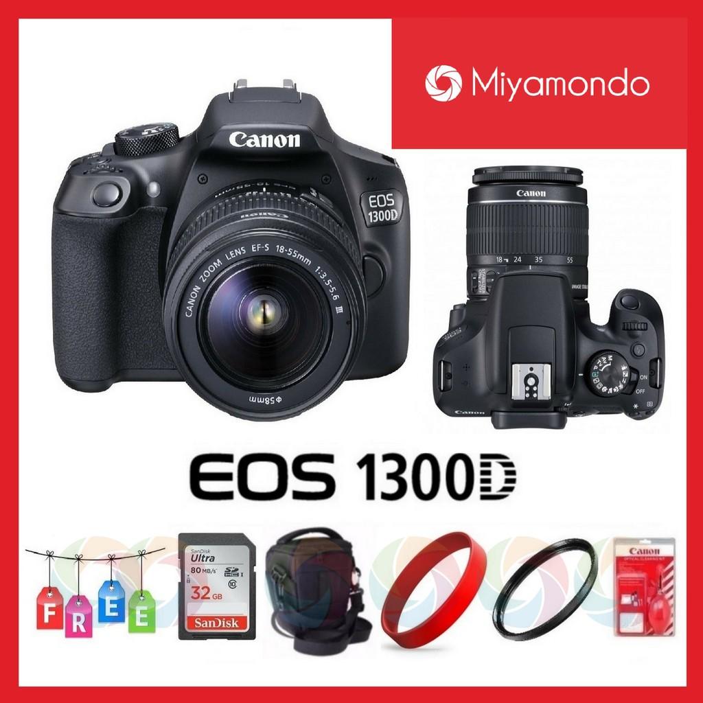 Packagecanon Eos 1300d Dslr Camera With 18 55mm Lens Kit Kamera Canon 55 Iii Shopee Malaysia