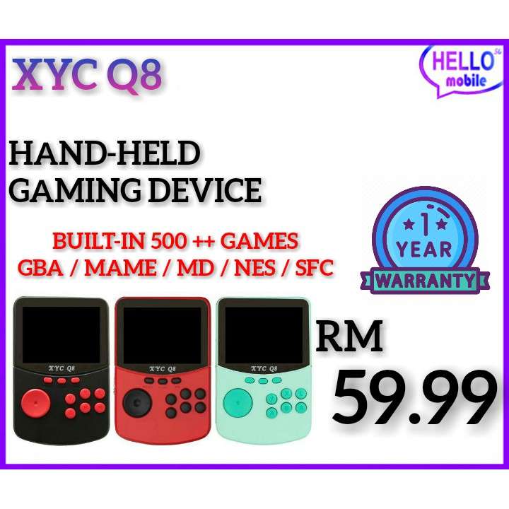 RETRO XYC Q8 HANDHELD VIDEO GAMES CONSOLE FOR NES/SNES/MAME/MD/GBA ARCADE GAME