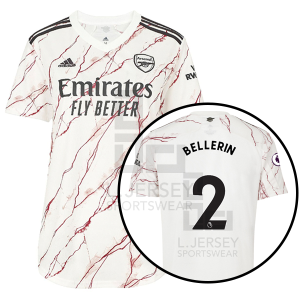 Arsenal Women Away Season 20/21 AEROREADY Fans Issue Jersey with EPL #2 BELLERIN + Patch Printing