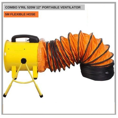 """V'RIL 520W Portable 12"""" Ventilation Blower Fan with Stand + 5 Meter Flexible Duct Hose"""