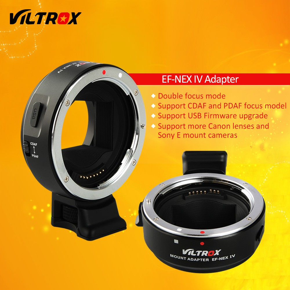 Viltrox EF-NEX IV Auto Focus Lens Adapter for Canon EOS EF EF-S Lens to Sony