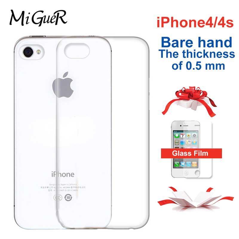 Silicone transparent shell mobile phone case for iPhone4/4s transparent  all-inclusive anti-fall shell