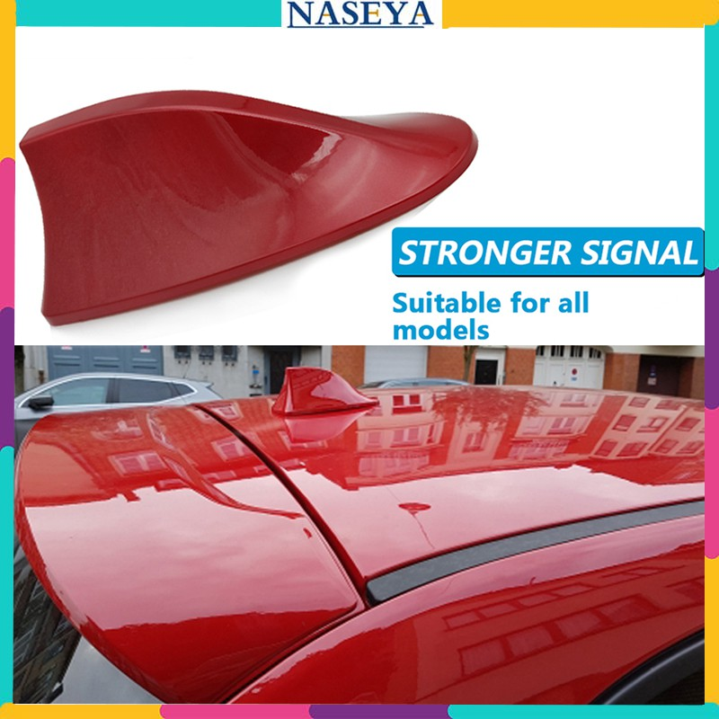 Universal Red Shark Fin Roof Antenna For Car Radio FM//AM Signal Aerial Decor