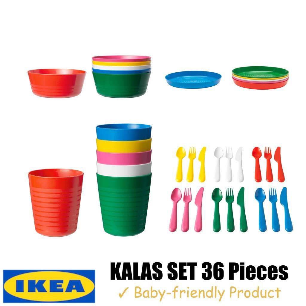 Party 72pcs Cups Bowls IKEA Children/' Plastic Sets Cutlery Kids Plates
